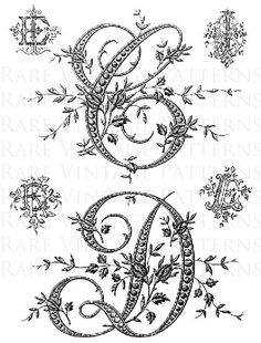 Only $1.49 for all 10 files Instant Digital Download  Fancy Antique French Alphabet Letters Hand Embroidery Pattern  Letters: A-B + C-D two