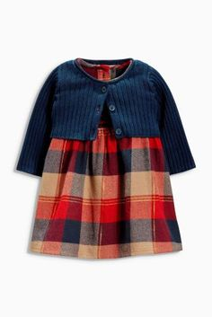 Buy Navy Check Dress And Cardigan Set (0-18mths) from the Next UK online shop