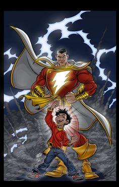 I really love Shazam ! Arte Dc Comics, Dc Comics Superheroes, Dc Comics Characters, Marvel Comics, Marvel Art, Ms Marvel, Comic Book Heroes, Marvel Heroes, Comic Books Art
