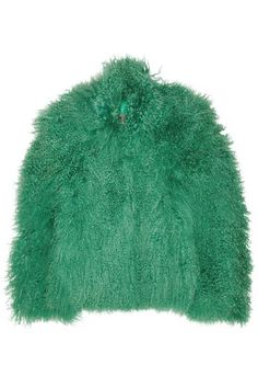 Karl Donoghueemerald shearling jacket lined in wool-jersey & trimmed with leather.