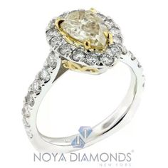 2.47 CARAT NATURAL CERTIFIED FANCY YELLOW DIAMOND ENGAGEMENT RING SET IN 18K #NOYADIAMONDS #SolitairewithAccents
