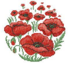 cross stitch embroidery designs | Poppy Flower Cross Stitch embroidery design
