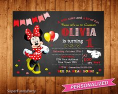 Minnie Mouse Invitation Any Age Minnie Mouse by SuperFunnyParty