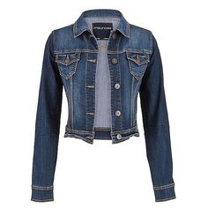 maurices Denim Jacket In Dark Wash (545 ARS) via Polyvore featuring outerwear, jackets, cotton jacket, blue jackets, cotton jean jacket, blue denim jacket y maurices