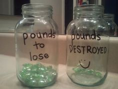 Love this!! I am sooo visual! Will kill me to put one BACK into the pounds to lose jar!! I'm doing it NOW and putting it in the window by the kitchen sink!