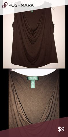 Brown Waterfall Neckline Top Never worn ! 100% Viscose. Neckline hangs about 11 inches down the front. Full length of shirt is 24 inches. Lauren Ralph Lauren Tops Blouses