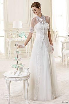 http://weddinginspirasi.com/2014/07/12/nicole-2015-wedding-dresses/ nicole spose #bridal 2015 half sleeve high neck illusion lace a-line #wedding dress #weddingdress #weddings #bridal #weddingdresses