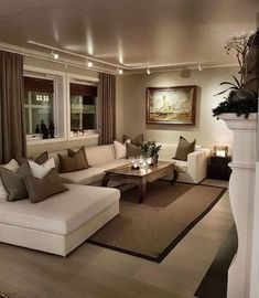 Cozy Living Room For Your Home - Living Room Design Living Room Drapes, Beige Living Rooms, Living Room Decor Cozy, Living Room Modern, Home Living Room, Apartment Living, Living Room Designs, Small Living, Cozy Living Room Warm