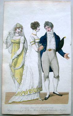 A well-dressed gentleman 1807 Concert dresses - beau monde magazine Jane Austen, Regency Dress, Regency Era, 1800s Fashion, Vintage Fashion, Yellow Ballgown, Vintage Costumes, Vintage Outfits, Concert Dresses