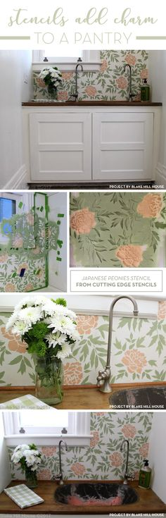 Cutting Edge Stencils shares a DIY floral stenciled accent wall in a pantry using the Japanese Peonies Allover Stencil. http://www.cuttingedgestencils.com/japanese-peonies-floral-stencil-pattern.html