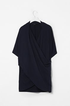 DRAPED CROSSOVER TOP    Made from heavyweight cotton jersey, brushed for an extra soft finish, this top has a draped cross-over front and loose half-sleeves. Perfect for layering, it is a relaxed, oversized fit.