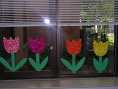Tissue Tulips brighten up any classroom. They look great in the windows. Classroom Projects, School Projects, Art Projects, Classroom Ideas, Art For Kids, Crafts For Kids, Arts And Crafts, Spring Poem, Flamingo Party