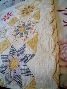 Detail, Vintage Patchwork Quilt Flower Centers Fair Condition Estate Sale Find 6 | eBay, kids4keeps