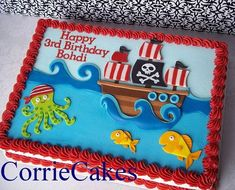 Trendy Cake Decorating With Fondant Birthdays Awesome 46 + Trendy Kuchen dekorieren mit Fo Pirate Birthday Cake, Birthday Sheet Cakes, 3rd Birthday, Birthday Ideas, Pirate Ship Cakes, Party Mottos, Cake Decorating With Fondant, Pirate Theme, Birthday Cakes