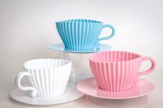 Silicone CUPCAKE baking Cup Saucer blue/white/pink 6 by buyititaly, €9.99