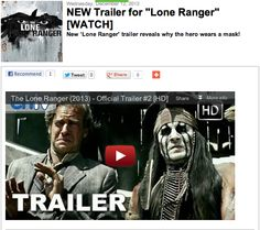 """NEW Trailer for """"Lone Ranger"""" [WATCH]"""