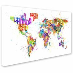 Trademark Fine Art Text Map of the World Iii Canvas Art by Michael Tompsett, Size: 12 x 19, Multicolor