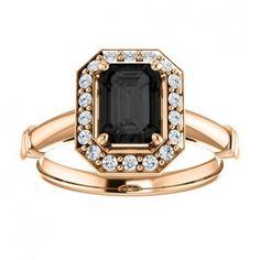 14kt Rose Gold 7x5mm Emerald Shape Center Stone Onyx Gemstone And Round Diamonds Engagement Ring.... #gold #diamond #bridal #engagement #wedding #ring #fashion #jewelry #jewelryring #diamondring #engagementring #fashionring #lovely #Richmondgoldanddiamonds