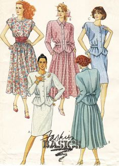 Womens One Piece Dress with Yoke and Sleeve Variations Vogue Sewing Pattern 5879 Size 12 Bust 32 Vogue Sewing Patterns, Clothing Patterns, Fashion Patterns, Vintage Denim, Vintage Fashion, Vintage Paper, Retro Fashion, Retro Pattern, Sew Pattern