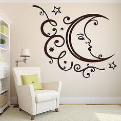 Shop Moon And Stars Wall Stickers on Wanelo