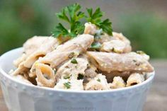 Clean Eating Chicken Penne In Lemon Basil Sauce: Substitute Parmesan for approved cheese; create own chicken broth; make sure salt is sea or kosher. DIG IN =)