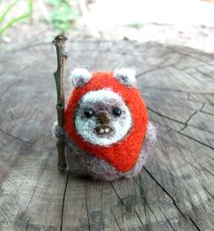 Needle felted Ewok by HandmadeByNovember on Etsy https://www.etsy.com/listing/160073487/needle-felted-ewok