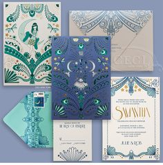 Luxury Wedding Invitations by Ceci New York - Our Muse - Blue Deco Bat Mitzvah - Be inspired by Samantha's blue, Deco-themed bat mitzvah at the Four Seasons Restaurant - deco, blue, shade, illustration, gold, foil, letterpress, laser-cut, pocket, sleeve, ceci new york, invitation, bat mitzvah, custom, design, new york city