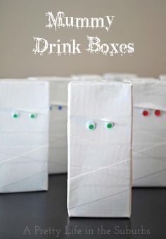 Halloween Mummy Drink Boxes {A Pretty Life} Super easy project for kids Halloween parties!