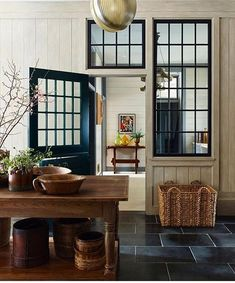 Where do we even begin with this stunning design by Loving the black windows against the pale wood tones, but every detail is beyond gorgeous! Room Deviders, Interior Windows, Modern Cottage, Gambrel, Interior Design Inspiration, Home Projects, Home Kitchens, Kitchen Design, Sweet Home