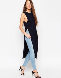 Image 4 of ASOS Maxi Tunic Top with Side Splits