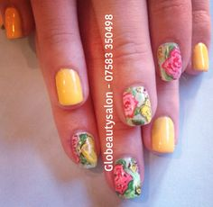 Vintage hand painted flowers ready for summer in shellac and with bright yellow at Glo - £18