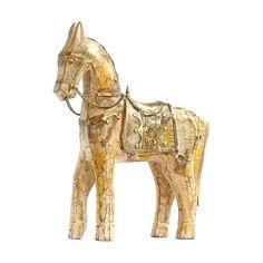 Meridian | Vintage Washed Wood Jodhpur Horse From India