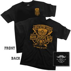 """1 GRAVE BEFORE SHAVE """"HEAD HUNTER"""" Tee shirtBlack tee shirt with copper printed graphics"""