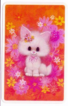 vintage SWAP CARDs 1970s Blank back little kitty cat very cute