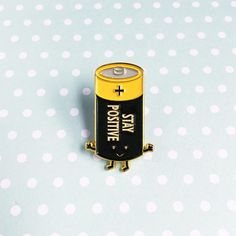 Battery (Stay Positive) Soft Enamel Pin Seller: Queenie's Cards Bag Pins, Jacket Pins, No Bad Days, Pins And Needles, Cool Pins, Metal Pins, Mo S, Pin And Patches, Stickers