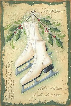 Skates and holly postcard