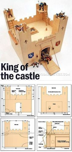 Wooden Castle Plans - Wooden Toy Plans and Projects | WoodArchivist.com Woodworking Projects For Kids, Popular Woodworking, Wooden Castle, Wooden Toys, How To Plan, Wood Toys, Woodworking Toys
