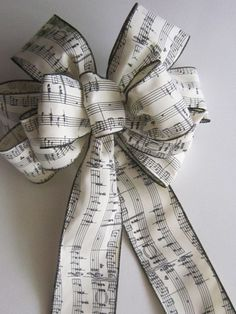 Musical Notes Bow for Christmas Wreath, Garland on Staircase, Large Present