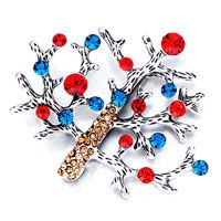 Pugster Snow Tree With Red And Blue Crystal Brooch