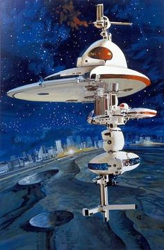 Spaceship near a City on the Moon by John Berkey. #Spaceships #Starships #JohnBerkey
