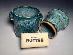 Pottery-Butter-Butter Crock-Girlfriend Gift-Butter Dish-Gift for Her-Wedding Gift-Home Decor-Housewarming Gift-Kitchen Decor-Ceramic-Foodie Butter Crock, Butter Dish, Sister Gifts, Gifts For Mom, Butter Bell, Handmade Kitchens, Girlfriend Gift, Porcelain Clay, Aqua Color