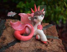 """Miniature """"Attina"""" seapony Mermaid Pony Horse figurine Polymer Clay Handmade by Whisper Fillies Polymer Clay Animals, Cute Polymer Clay, Polymer Clay Dolls, Cute Clay, Polymer Clay Projects, Handmade Polymer Clay, Clay Dragon, Cute Dragons, Anime Dolls"""