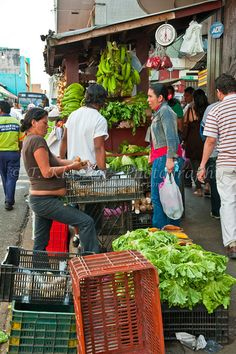 A fruit and vegetable market in downtown San Jose, Costa Rica, Central America.