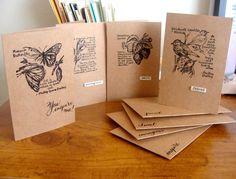 hanmade cards: Minimalist Notecards by girlgeek101  ... kraft base with black inked collage botanicals ...