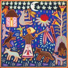 Psychedelic Art, Native Art, Native American Art, Pintura Tribal, Vision Art, Yarn Painting, Mexican Designs, Arts Ed, Mexican Folk Art