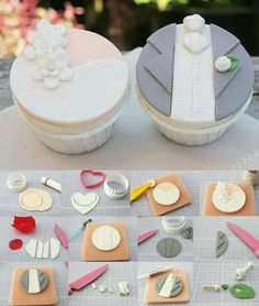 ideas cupcakes decoration wedding fondant for 2019 Fondant Cupcake Toppers, Cupcake Cookies, Wedding Cupcakes Fondant, Cupcakes Flores, Fondant Tutorial, Cupcake Tutorial, Fondant Tips, Cake Business, Fondant Flowers