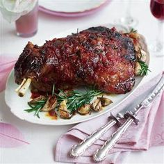 Slow-cooked shoulder of lamb with chilli jam and rosemary recipe. This slow cooked, chilli glazed lamb shoulder is juicy, sticky and melts in the mouth. Perfect for a Sunday roast. Meat Recipes, Slow Cooker Recipes, Cooking Recipes, Yummy Recipes, Free Recipes, Recipe Tasty, Savoury Recipes, Party Recipes, Spicy Recipes
