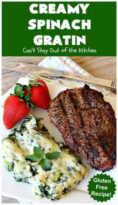 Creamy Spinach Gratin – Can't Stay Out of the Kitchen Spinach Gratin, Spinach Casserole, Vegetable Casserole, Casserole Recipes, Grilled Peppers, Spicy Honey, Pepper Steak, Creamy Spinach, Spinach Recipes
