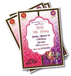 ever after high  2  Birthday Party Invitation  by birdofthemoon, $10.00