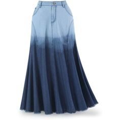 Ombre Blue Denim Skirt Size 14 Denim (4,655 INR) ❤ liked on Polyvore featuring skirts, bottoms, blue maxi skirt, long maxi skirts, blue skirt, evening skirts and long skirts